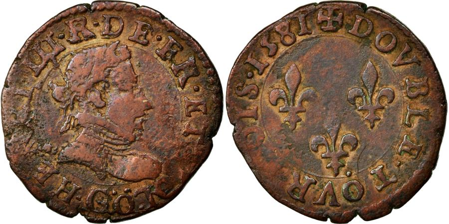 World Coins - Coin, France, Double Tournois, 1581, Poitiers, VF(20-25), Copper, Sombart:4080
