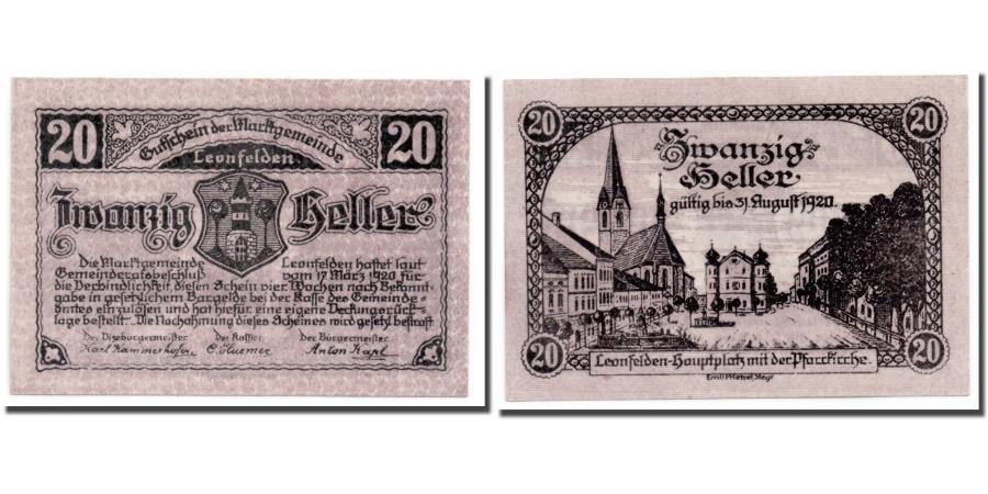 World Coins - Banknote, Austria, Leonfelden O.Ö. Marktgemeinde, 20 Heller, paysage, 1920
