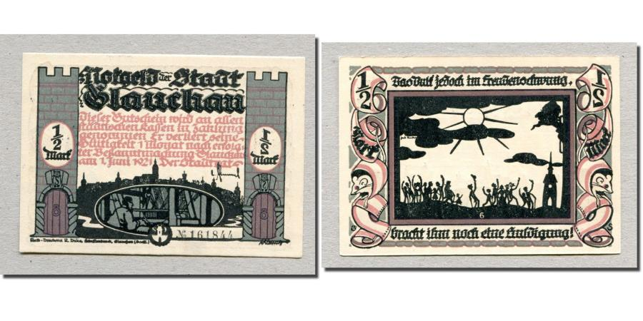 World Coins - Banknote, Germany, Glauchau Stadt, 1/2 Mark, personnage 5, 1921, 1921-05-01