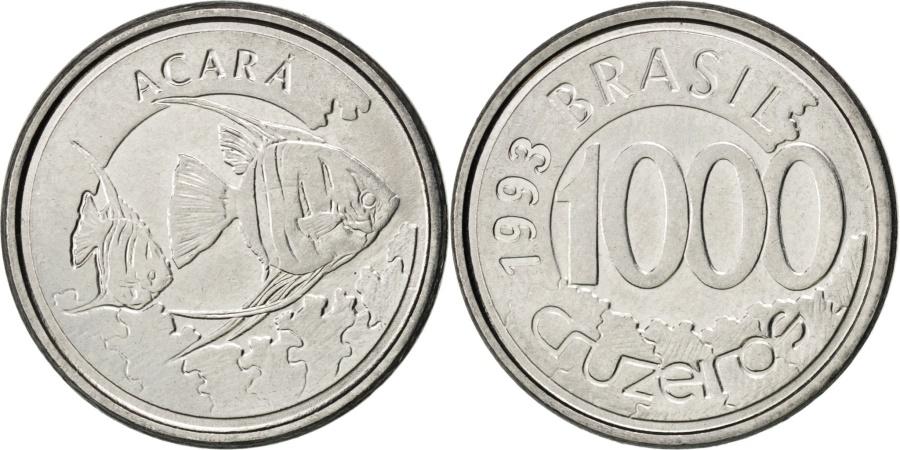 World Coins - BRAZIL, 1000 Cruzeiros, 1993, KM #626, , Stainless Steel, 20, 3.05