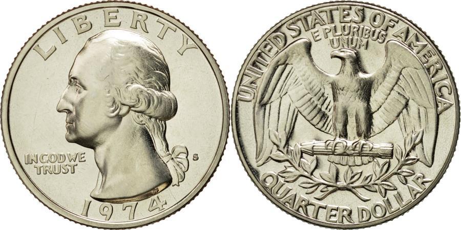 US Coins - Coin, United States, Washington Quarter, Quarter, 1974, U.S. Mint, San