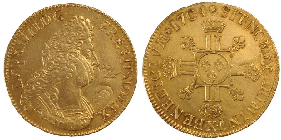World Coins - FRANCE, Écu aux 8 L 2e type, ECU, 1704, Amiens, KM #360.21, , Silver, .