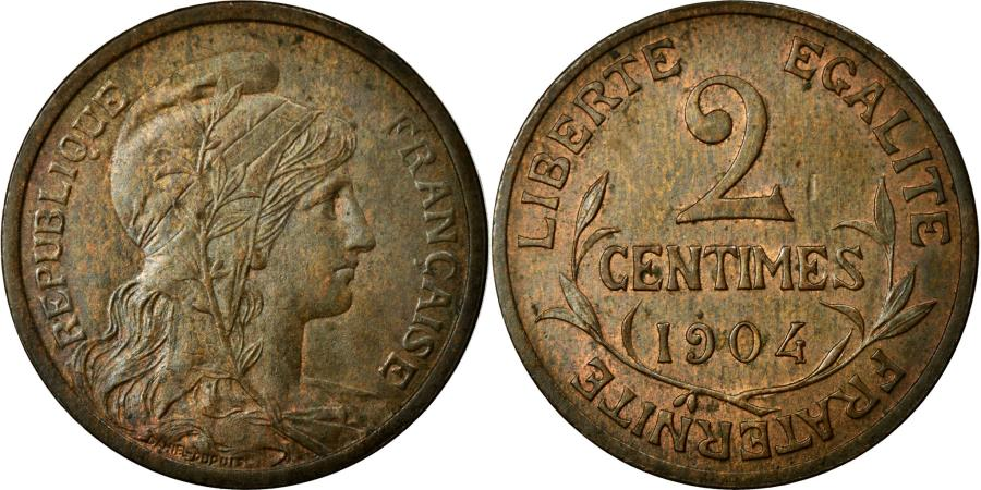 World Coins - Coin, France, Dupuis, 2 Centimes, 1904, Paris, AU(55-58), Bronze, Gadoury:107
