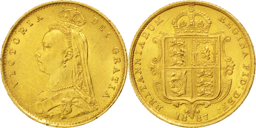 World Coins - GREAT BRITAIN, 1/2 Sovereign, 1887, KM #766, , Gold, 4.00