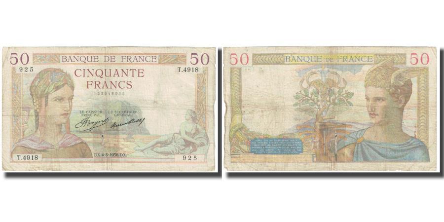 World Coins - France, 50 Francs, Cérès, 1936, P. A.Strohl-G.Bouchet-J.J.Tronche, 1936-08-06