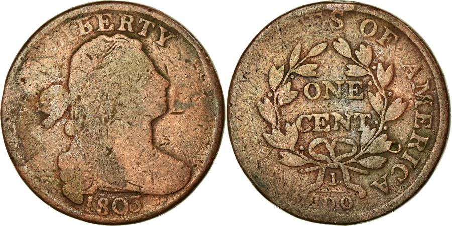 US Coins - Coin, United States, Draped Bust Cent, Cent, 1803, Philadelphia,