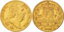 France, Louis XVIII, 20 Francs, 1824, Paris, EF(40-45), Gold, KM 712.1