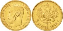 Russia, Nicholas II, 5 Roubles, 1898, St. Petersburg, AU(50-53), Gold, KM:62