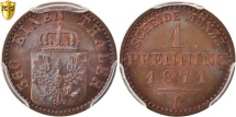 World Coins - German States, PRUSSIA, Wilhelm I, Pfennig, 1871, PCGS, MS67+RB, Copper, KM:480