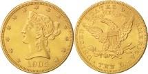 Us Coins - United States,Coronet Head,$10,1905,Philadelphia,Gold,AU(50-53),KM 102