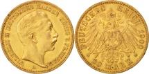 German States, PRUSSIA, Wilhelm II, 20 Mark, 1900, Berlin, AU(50-53), Gold