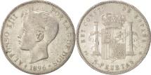 Spain, Alfonso XIII, 5 Pesetas, 1896, Valencia, VF(30-35), Silver, KM:707