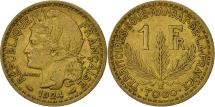 World Coins - Togo, Franc, 1924, Paris, AU(50-53), Aluminum-Bronze, KM:2