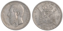World Coins - BELGIUM, Franc, 1886, KM #28.2, EF(40-45), Silver, 4.92