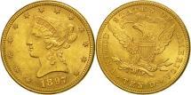 Us Coins - United States, Coronet Head, $10, Eagle, 1897, Philadelphia, AU(50-53), KM 102