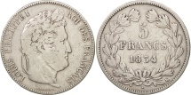 France, Louis-Philippe, 5 Francs, 1834, Bordeaux, VF(20-25), Silver, KM:749.7