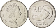 World Coins - Fiji, Elizabeth II, 20 Cents, 2006, MS(64), Nickel plated steel, KM:53a