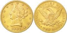Us Coins - United States, Coronet Head, $10, Eagle, 1901,Philadelphia,AU(50-53),KM 102
