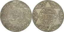 Morocco, 'Abd al-Aziz, 1/2 Rial, 5 Dirhams, 1902, Berlin, EF(40-45), Silver