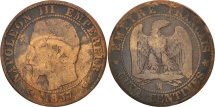 France, Napoleon III, 5 Centimes, 1857, Marseille, F(12-15), KM 777.6
