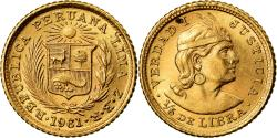 World Coins - Coin, Peru, 1/5 Libra, Pound, 1961, Lima, MS(63), Gold, KM:210