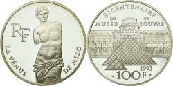 World Coins - Coin, France, Vénus de Milo, 100 Francs, 1993, BE, , Silver, KM:1020
