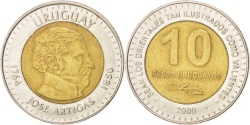 World Coins - URUGUAY, 10 Pesos Uruguayos, 2000, KM #121, , Bi-Metallic, 28, 10.59