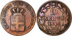 World Coins - Coin, Greece, Othon, 10 Lepta, 1849, Athens, , Copper, KM:29