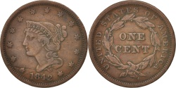 Us Coins - United States, Braided Hair Cent, 1842, U.S. Mint, Philadelphia, EF, KM:67