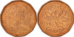 World Coins - Canada, Elizabeth II, Cent, 1985, Royal Canadian Mint, Ottawa, AU(55-58)