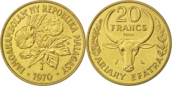 World Coins - MADAGASCAR, 20 Francs, 1970, Paris, KM #E10, , Aluminum-Bronze, 5.94