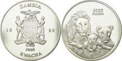 World Coins - Coin, Zambia, 5000 Kwacha, 1999, British Royal Mint, , Silver, KM:157