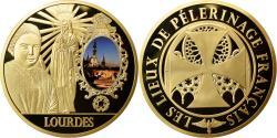 Us Coins - France, Medal, Lourdes, Lieu de Pélerinage Français, MS(65-70), Copper Gilt