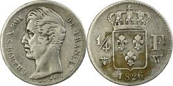 World Coins - Coin, France, Charles X, 1/4 Franc, 1826, Lille, , Silver, KM:722.12