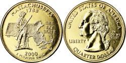 Us Coins - Coin, United States, Massachusetts, Quarter, 2000, U.S. Mint, Denver, golden