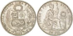 World Coins - Coin, Peru, SOUTH PERU, Sol, 1869, Lima, , Silver, KM:196.3