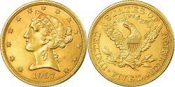 Us Coins - Coin, United States, Coronet Head, $5, Half Eagle, 1907, U.S. Mint