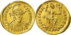 Coin, Honorius, Solidus, Thessalonica, Rare, , Gold, RIC:348
