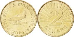 World Coins - MACEDONIA, 2 Denari, 2001, KM #3, , Brass, 23.7, 6.16
