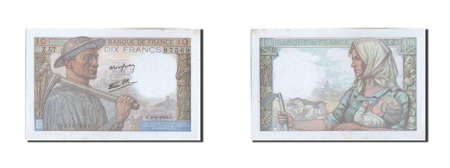 World Coins - France, 20 Francs, 10 F 1941-1949 ''Mineur'', 1943, KM #100a, 1943-09-09,...
