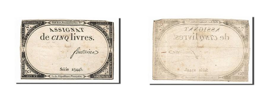 World Coins - France, 5 Livres, 1793, KM #A76, 1793-10-31, VF(20-25), Lafaurie #171, France,..
