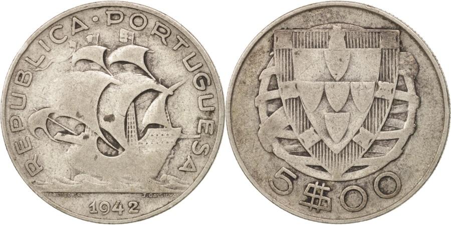 World Coins - Portugal, 5 Escudos, 1942, Lisbon, , Silver, KM:581