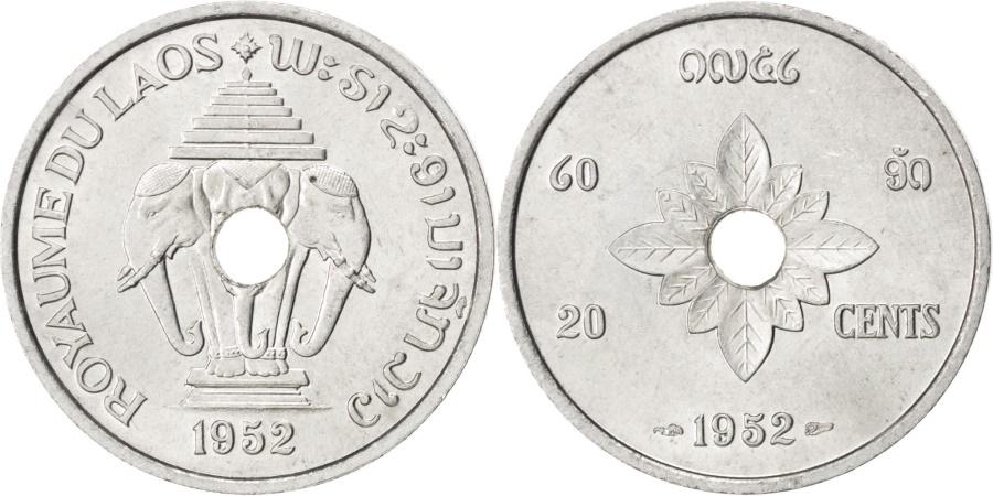 World Coins - LAO, 20 Cents, 1952, Paris, KM #5, , Aluminum, 27, Lecompte #6, 2.21