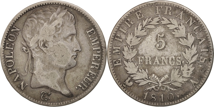 World Coins - France, Napoléon I, 5 Francs, 1810, Paris, , Silver, KM:694.1