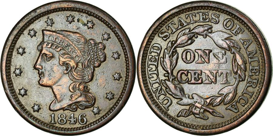 US Coins - Coin, United States, Braided Hair Cent, Cent, 1846, U.S. Mint, Philadelphia