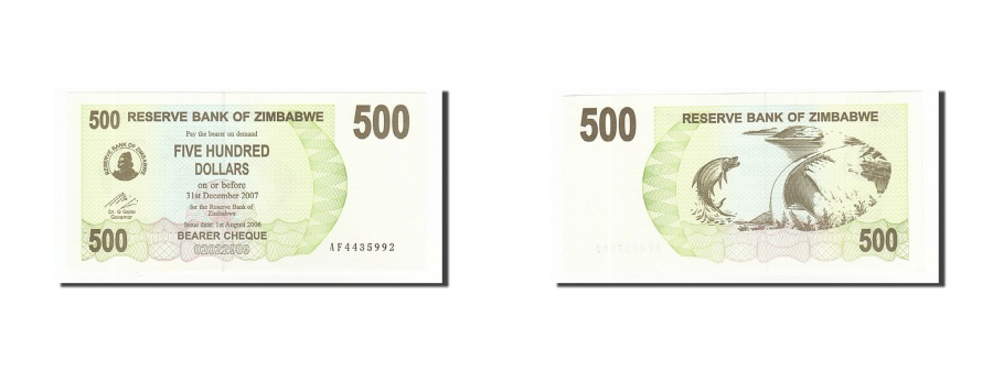 World Coins - Zimbabwe, 500 Dollars, 2006-2008, KM:43, 2006-08-01, UNC(65-70)