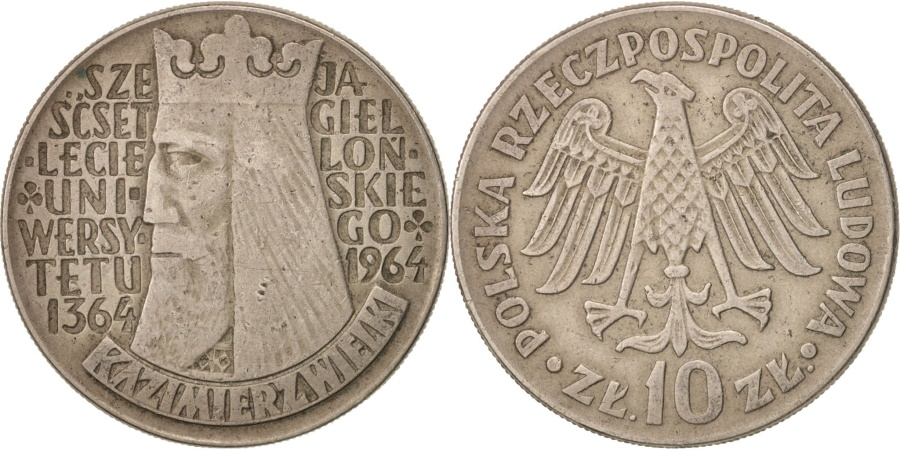 World Coins - Poland, 10 Zlotych, 1964, , Copper-nickel, KM:52.2