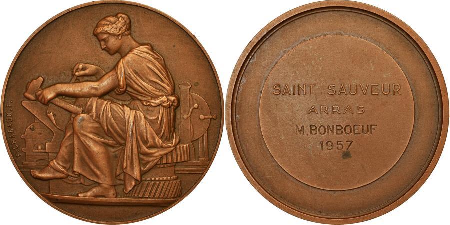 World Coins - France, Medal, Saint Sauveur, Arras, Business & industry, 1957, Chabaud
