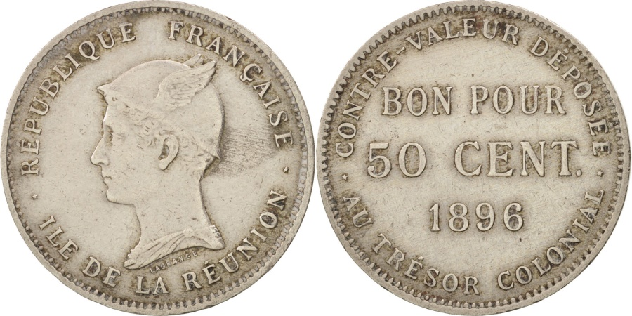 Reunion 50 Centimes 1896 Copper Nickel Km 4