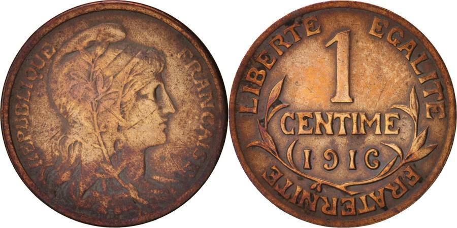 World Coins - France, Dupuis, Centime, 1916, Paris, , Bronze, KM:840, Gadoury:90